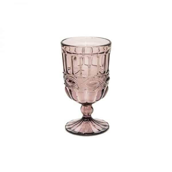 Чаша от стъкло с орнаментика, Розова