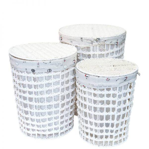 Цилиндричен плетен кош от ратан с текстителeн капак, 3 размера