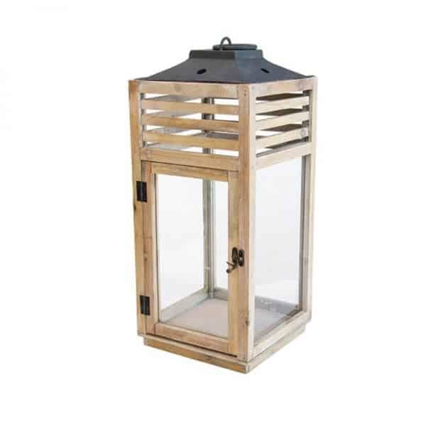 Дървен свещник-фенер, 35*35*90см