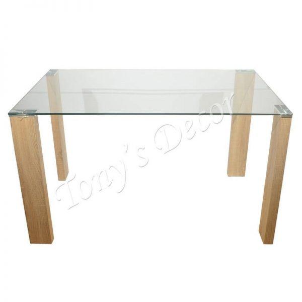 Дървена маса със стъклен плот, 130x80x75