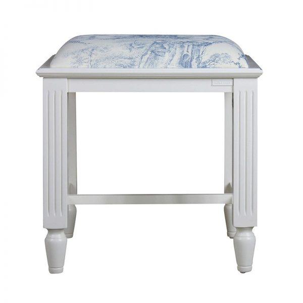 Дървена табуретка, Бяло-синя