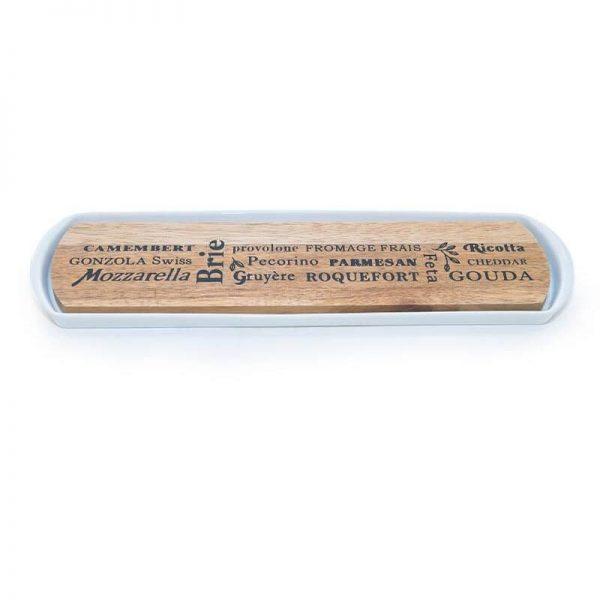 Дъска за сирена от светъл бамбук и керамика