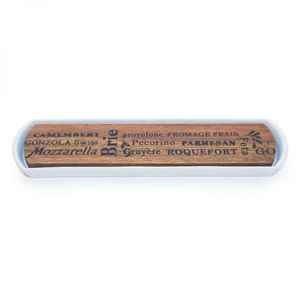 Дъска за сирена- тъмен бамбук и керамика