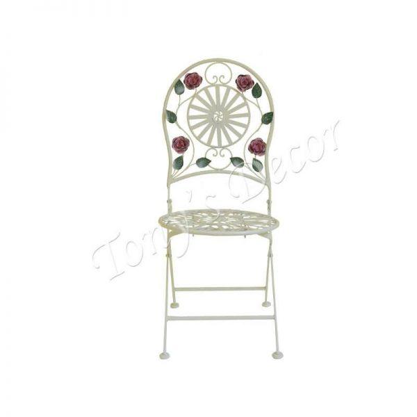 Градински метален стол с декорация, 40x45x95