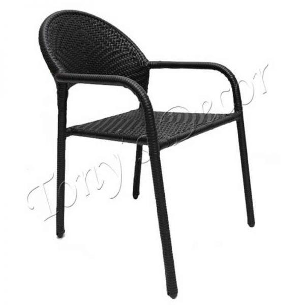 Градински стол от ратан, Черен