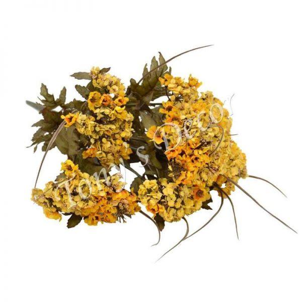 Изкуствени цветя Кантарион с 9 китки, цвят бордо, 40 см