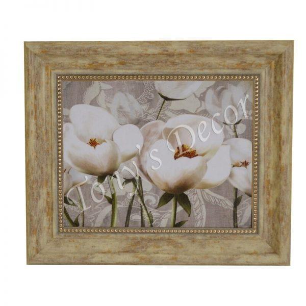 Картина цвете, бяло Лале, 28x33 см