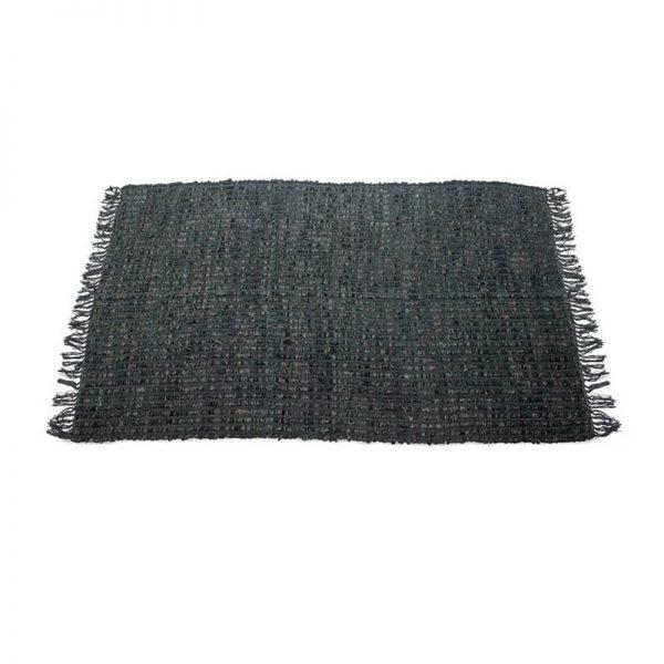 Килим-черга от кожа и текстил Черен, 120х180
