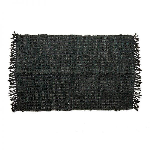 Килим-черга от кожа и текстил Черен, 60x90