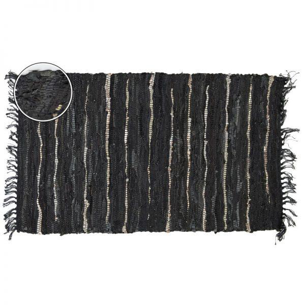 Килим-черга от кожа микс Черен, 90х150