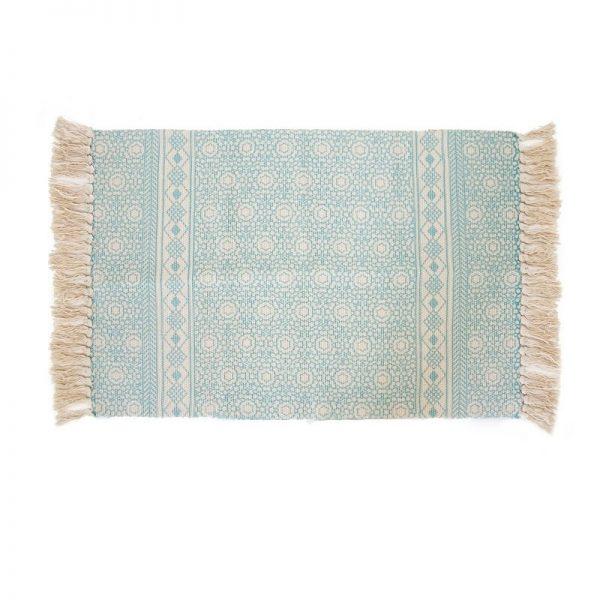 Килим-черга с ресни памук и полиестер Син, 60x90