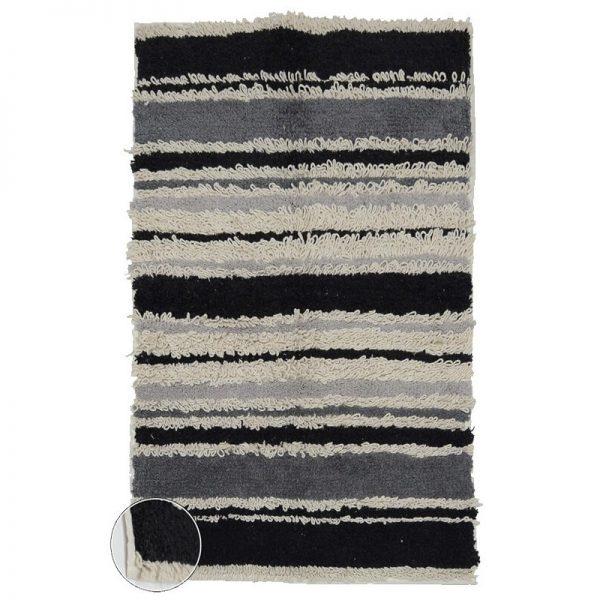 Килим от памук рае Черно-Бял, 60x90