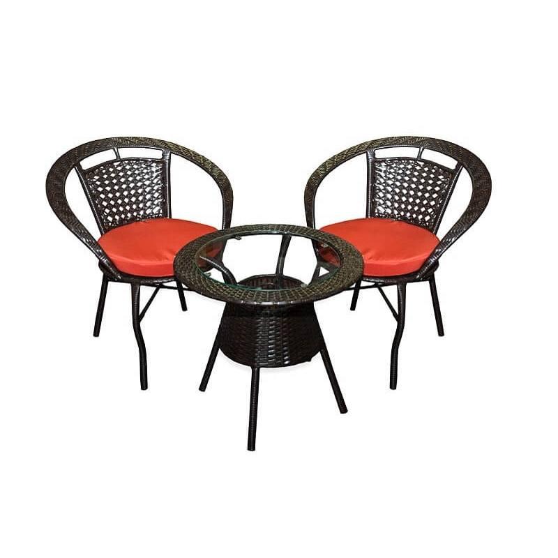 Комплект маса и два стола от ратан, Кафяв