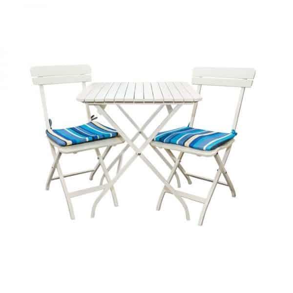 Комплект от маса с два стола за градина и тераса, Бели