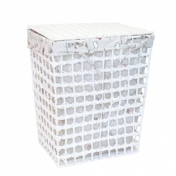 Кош от ратан с голям текстителн капак, 34x25x41см