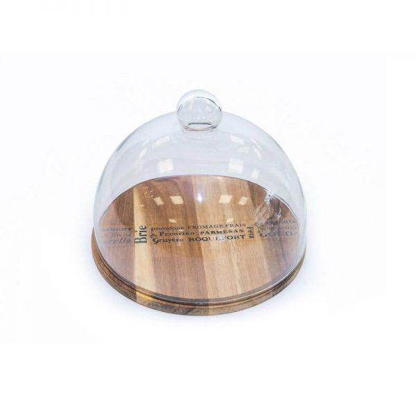 Кръгла дъска от бамбук и керамика със стъклен капак