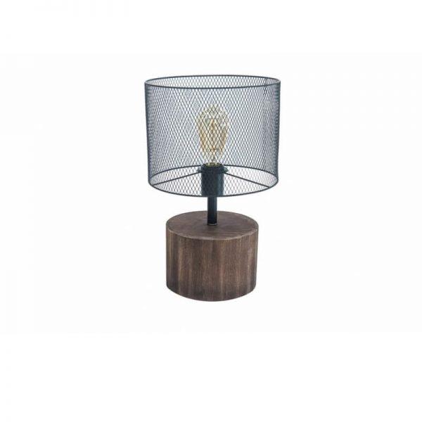 Настолна лампа с дървена основа и мрежест корпус