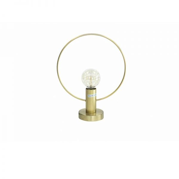 Настолна лампа с кръгов златист корпус