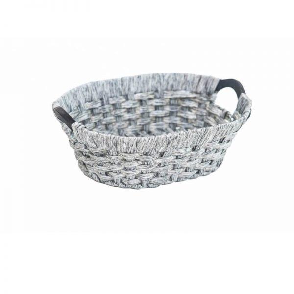 Панер-кошница тип елипса с черни дръжки от изкуствен ратан, 40х30х13 см