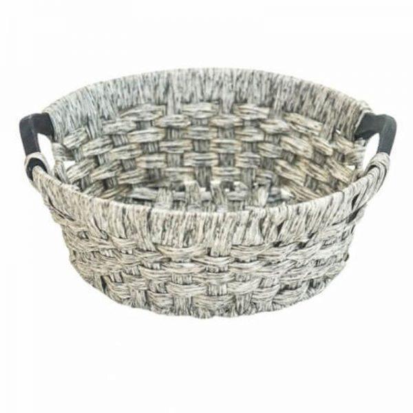 Плетен кръгъл панер-кошница Сив, 36х13 см