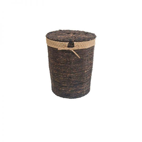 Плетен тъмен кош от ратан с капак,  34x25x41 см