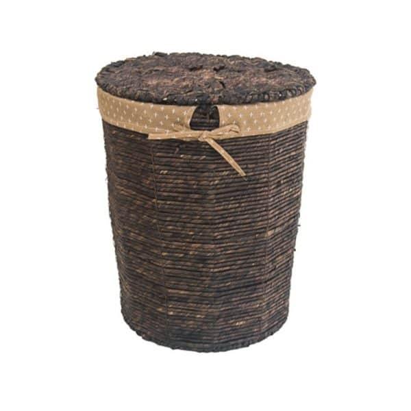 Плетен тъмен кош от ратан с капак, 39x31x48см