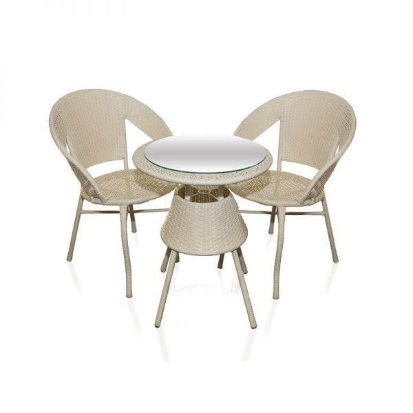 Ратанов к-кт маса и два стола, Бяло