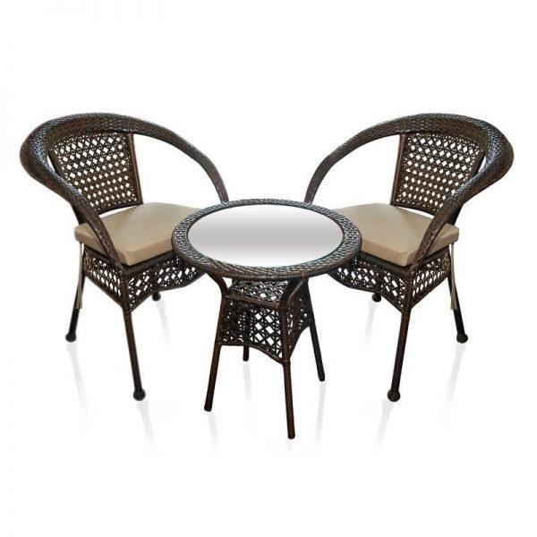 Ратанов к-кт  маса и два стола, Кафяво
