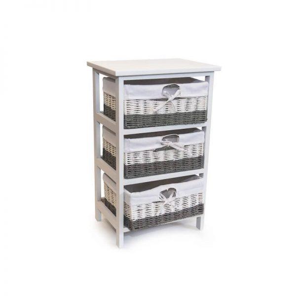 Шкафче 3-ка от ратанови чекмеджета, 38x28x62 см