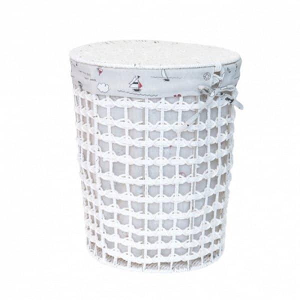 Цилиндричен плетен кош от ратан с текстилен капак, 38x48 см