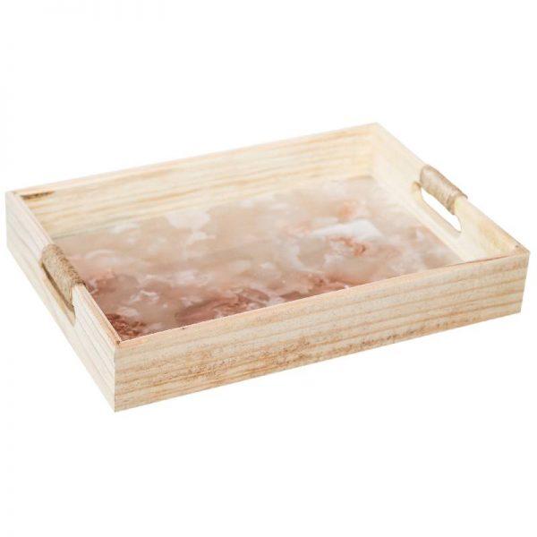 Дървен поднос мрамор, 35*25*5см