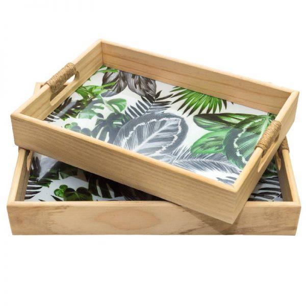 Дървен поднос с листа, 35*25*5см