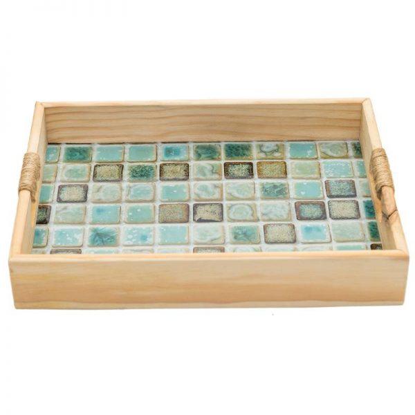 Дървен поднос мозайка, 40*30*6см