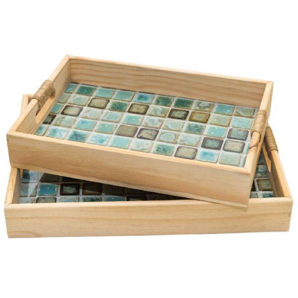 Дървен поднос мозайка, 35*25*5см