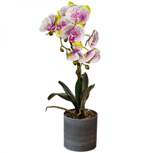 Изкуствена орхидея в кашпа - различни цветове, 10*10*50см