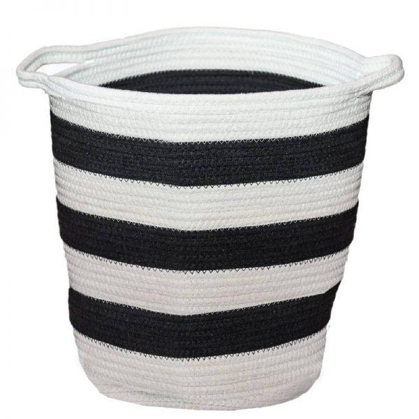 Плетен кош в бяло и черно 35*35*40см