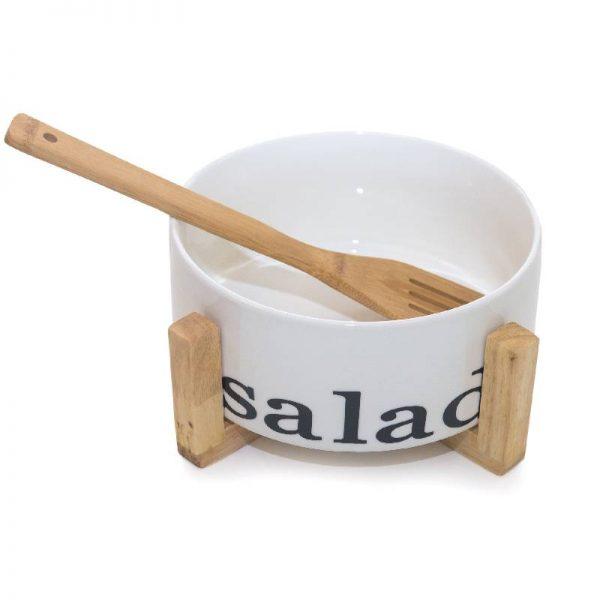 Керамична купа за салата върху бамбукова поставка