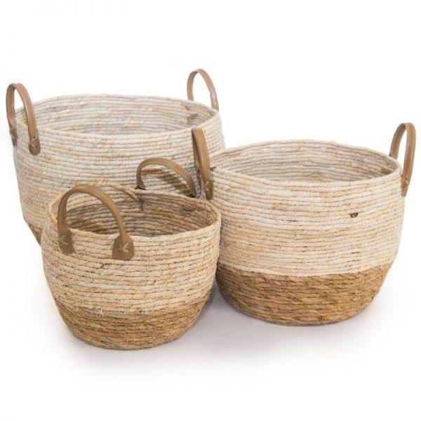 Плетена конопена кошница-панер, 3 размера