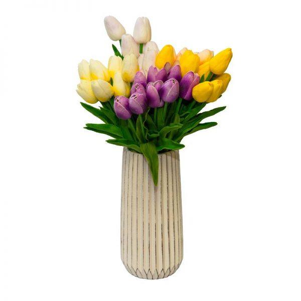 Изкуствени цветя, стрък лале /микс от цветове, 34см