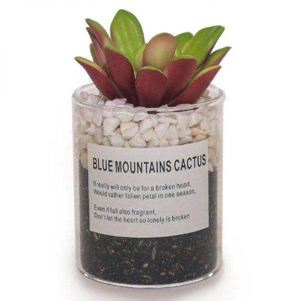 Изкуственo цветe кактус в саксия от стъкло,6.5*12см