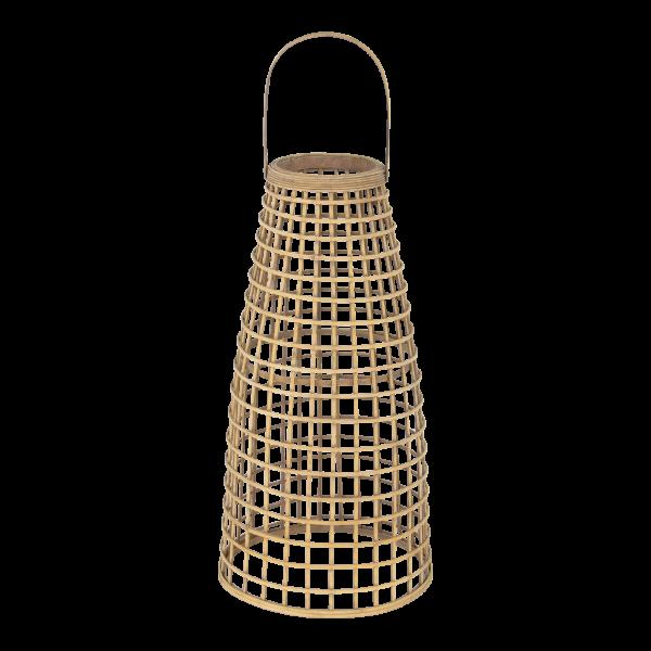 Ратанов градински фенер - бежов цвят  , 30*53см