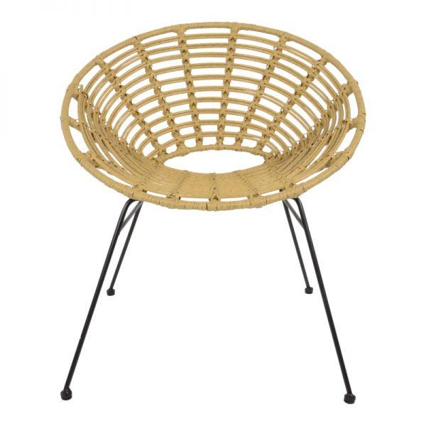 Градински ратанов стол Веро в бежов цвят, 72*66*78см