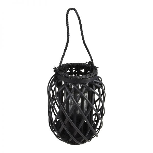 Черен дървен градински фенер, 28*45см