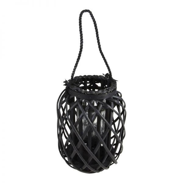 Висящ дървен градински фенер, Черен, 23*30см