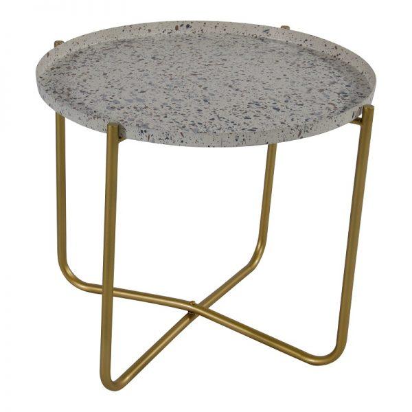 Помощна маса с бял плот на сиви пръски, 40.5*35см