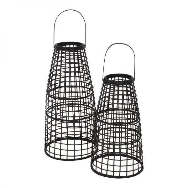 Ратанови фенери в черен цвят,сет 2 броя