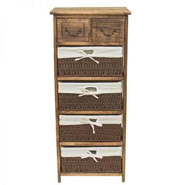 Шкаф с 6 чекмеджета, 4 от ратан, 40*30*93см
