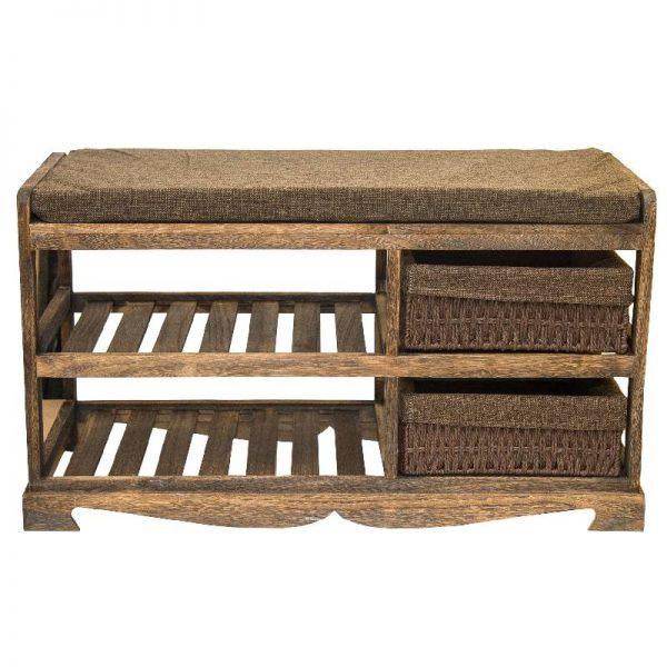 Шкаф за обувки-пейка в кафяв цвят, 80*34*45см