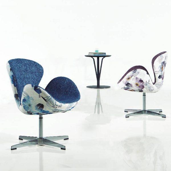Бар стол - кресло с флорален мотив, 62*54*43H*80H