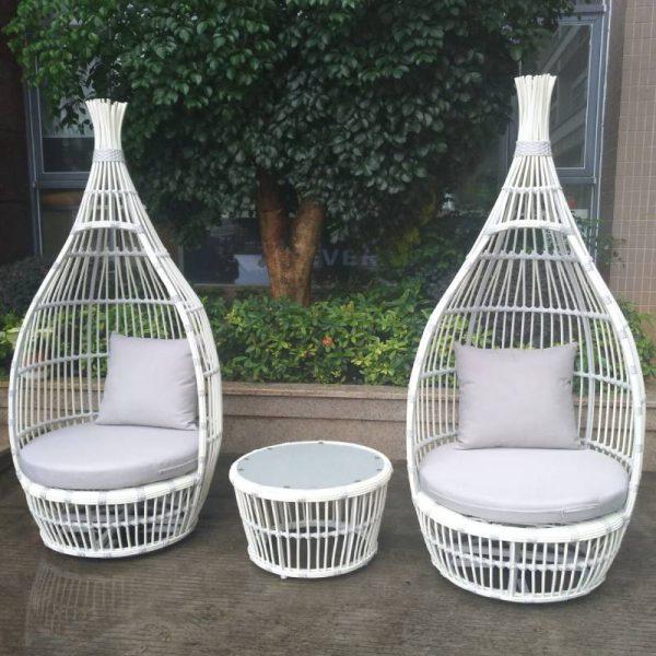 Градински комплект с 2 кресла и стол